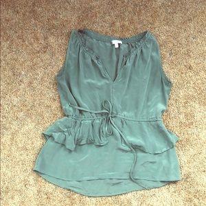 100% Blue/Green Silk Layered Top